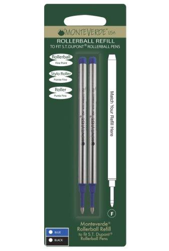 Monteverde Recharge Pointe Fine Compatible Stylos Roller S.T. Dupont - Bleu (Lot de 2)
