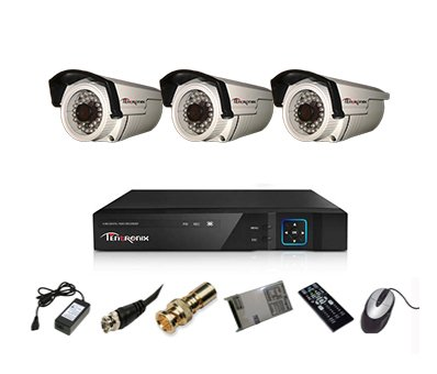 Tentronix T-4ACH-3-BA10 4-Channel AHD Dvr, 3(1MP/36 IR) Bullet Cameras (With Accessories)