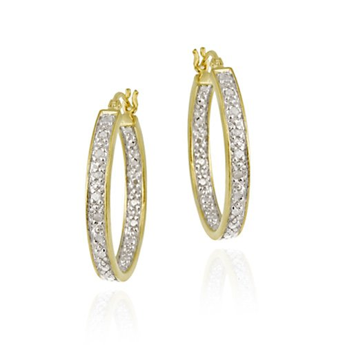 18K Gold over Sterling Silver 1/8ct TDW Inside Out 22mm Oval Hoop Earrings