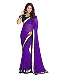Sourbh Sarees Purple Faux Georgette Saree Must Have Best Sarees For Women Party Wear, Special Karwa Chauth Gifts...