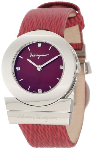 Ferragamo Women's F56SBQ9926 S006 Gancino Stainless-Steel Red Leather Watch
