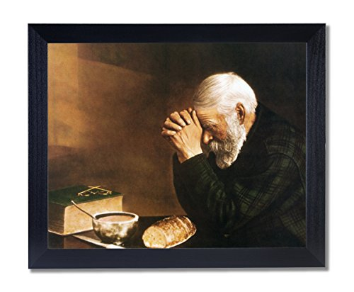 Art Prints Inc Daily Bread Man Praying At Dinner Table Grace Religious Wall Picture Black Framed Art Print (Framed Motivational Pictures compare prices)
