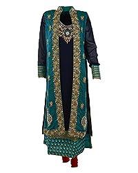 Vama Girl's Georgette Anarkali Suit (Blue & Green, 42)