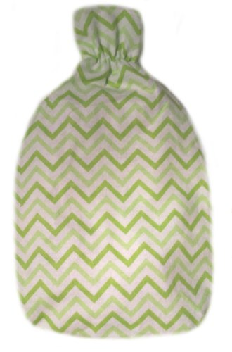 Warm Tradition Green Chevron Flannel Hot Water Bottle - Bottle Made In Germany, Cover Made In Usa