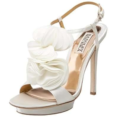 Badgley Mischka Women's Randee T-Strap Sandal, White Satin, 6.5 M US