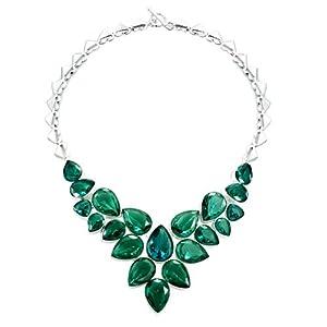 Pugster Chunky Bubble Emerald Green Bib Statement Teardrop Necklace Fashion Jewelry For Women