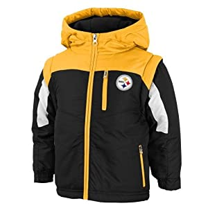 Pittsburgh Steelers Youth NFL Heavyweight Covertible Vest Full Zip Hooded Jacket at SteelerMania