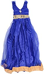 Kanchoo Girls' Long Frock (BSKF037_5-6 Years, Blue, 5-6 Years)