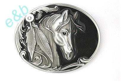 Find Discount Brand:e&b Single Horse Head Western Style with Feathers Belt Buckle Wt-057bk