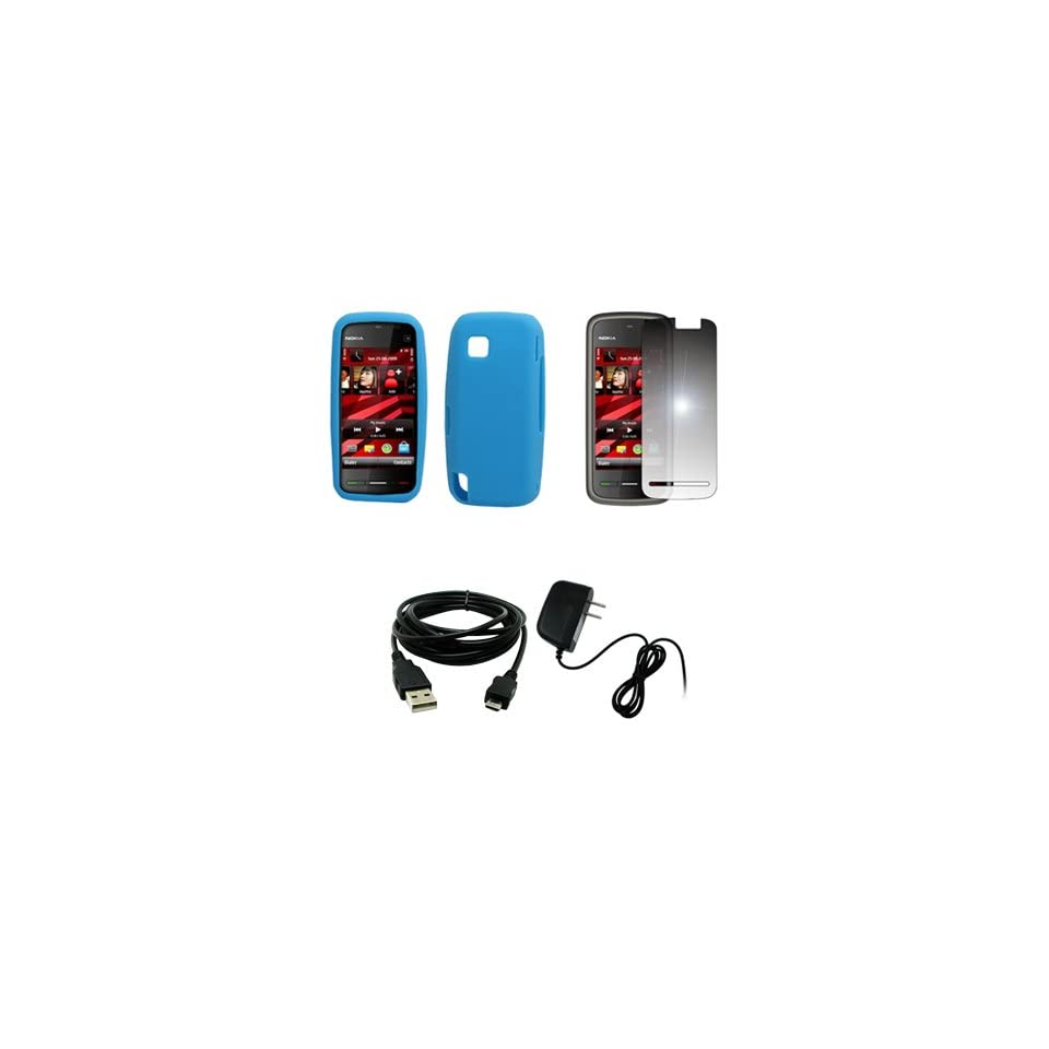 EMPIRE Light Blue Silicone Skin Case Cover + Mirror Screen Protector + Home Wall Charger + USB Data Cable for T Mobile Nokia Nuron 5230