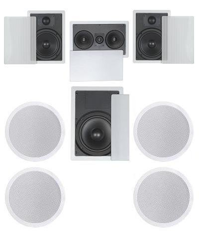 "7.1 Home Theater Flush Inwall/Ceiling Speaker Package- Two Inwall 6.5"" 2-Way Speakers, One Inwall Dual 5.25"" 2-Way Center Speaker, Four Ceiling 6.5"" 2-Way Speakers, And One 8"" Inwall Subwoofer"