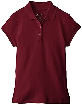 Izod big girls 39 short sleeve uniform polo Burgundy polo shirt boys