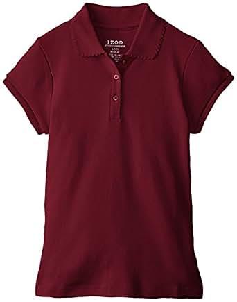 Izod big girls 39 short sleeve uniform polo Burgundy polo shirt boys