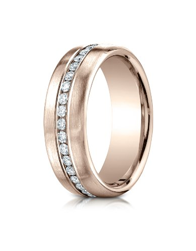 Benchmark 14K Rose Gold 7.5Mm Satin Finish Pave-Set Diamond Comfort-Fit Wedding Band Ring , Size 9.5