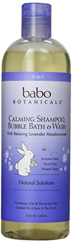 Babo Botanicals Lavender Meadowsweet 3 in 1 Bubble Bath Shampoo Wash, 15 Ounce - Natural Baby, Kid, Sensitive Skin, Pregnancy - Best Bubble Bath
