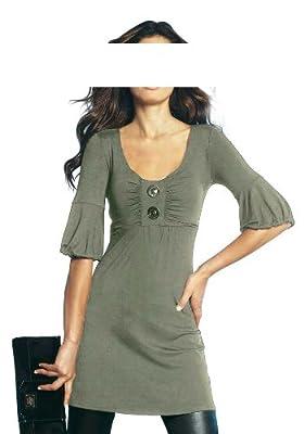 APART Damen-Shirt Babydoll-Longshirt Oliv