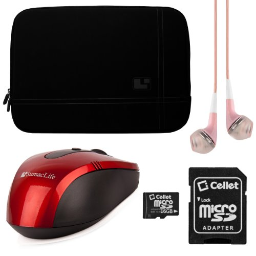 "Sumaclife Premium Microsuede Protective Zipper Sleeve Cover W/ Insulated Neoprene Bubble Padding (Black) For Asus 15.6 Inch Vivobook Ultrabook Laptops / Asus 15.6"" Notebooks + Pink Vg Stereo Headphones With Mic + Red Sumaclife Wireless Usb Mouse And Adapt"