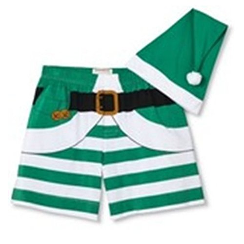 Mossimo Mens Striped Green Elf Boxers & Hat Set Christmas Boxer Shorts