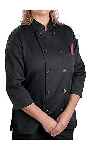 KNG Women's Black Classic ¾ Sleeve Chef Coat; Sleeve Chef Coat, L (Womens Chef Coats With Pockets compare prices)