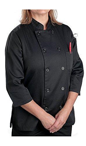 KNG Women's Black Classic ¾ Sleeve Chef Coat; Sleeve Chef Coat, L (Womans Chef Coat compare prices)