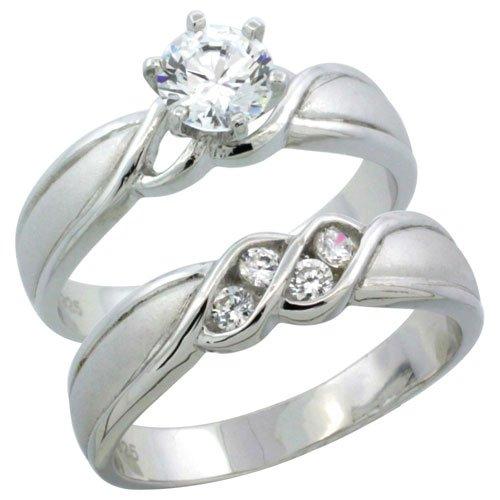 Sterling Silver Diamond Simulant 4.5mm Ladies Bridal Set