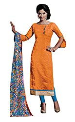 Lovely Look Latest Orange Embroidered Dress Material