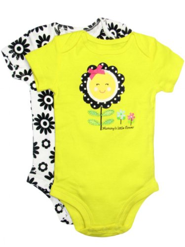 Baby Girl Flower 2 Pack Of Bodysuits By Baby Starters - Yellow - 9 Mths / 16-20 Lbs