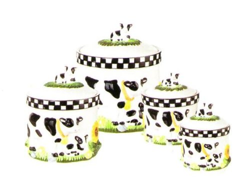 COW 3-D Canisters Set of 4 ^NEW^ Canister