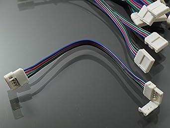 5x Kabel RGB LED Streifen Verbindung 4 Polig Schnell Kabelverbinder ...