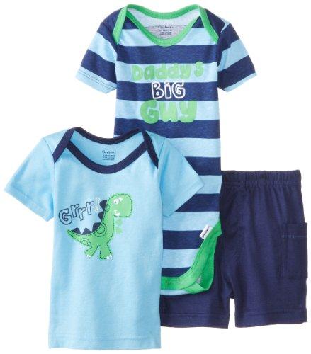 Gerber Baby-Boys Newborn 3 Piece Boys Set Shirt Short And Bodysuit, Dino, 3-6 Months front-253310