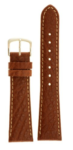 Men's Genuine Italian Leather Watchband - Color Tan Size: 18mm Long Watch Strap