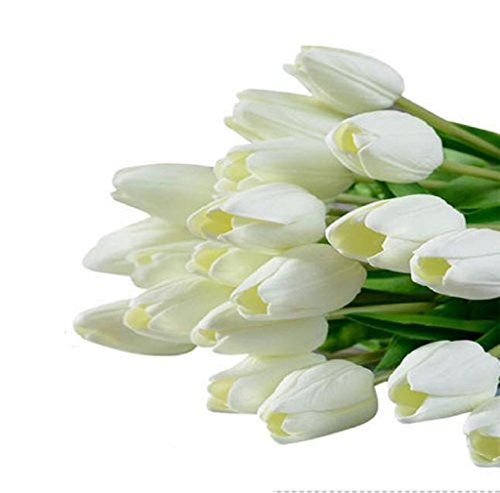 Tenworld PU Stunning Holland Mini Tulip Flower Real Touch Wedding Flower Artificial Flowers Silk Plants For Room Home Hotel Party Event Christmas Gift Decoration (White) (Baby Corn Plant compare prices)