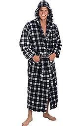 Del Rossa Men\'s Fleece Robe, Long Hooded Bathrobe, Small Medium Dark Blue and White Plaid (A0125P07MD)