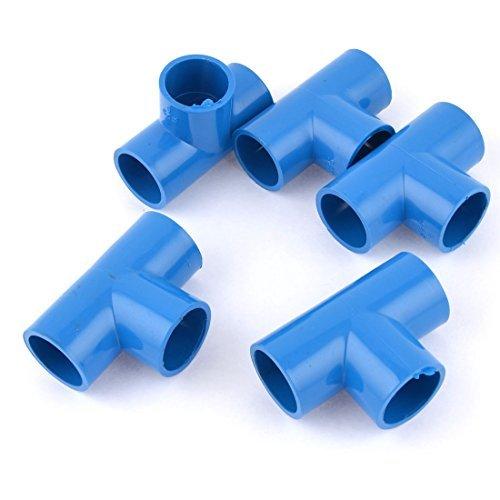 Blaue PVC-U 25 mm Innen-Durchmesser 3 Wege T-Stück Rohr, Stecker-Kupplung, 5 Stück
