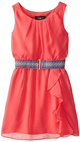Amy Byer Big Girls' Belted Dress with Ruffle Skirt