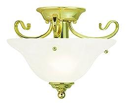 Livex Lighting 6109-02 Coronado 1 Light Ceiling Mount, Polished Brass