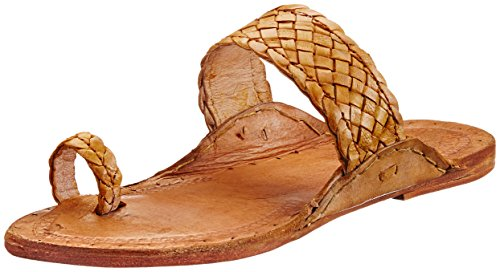 Pulpypapaya Pulpy Papaya Men's Checked Kolhapuri Thumb Slip On Leather Espadrille Flats (Multicolor)