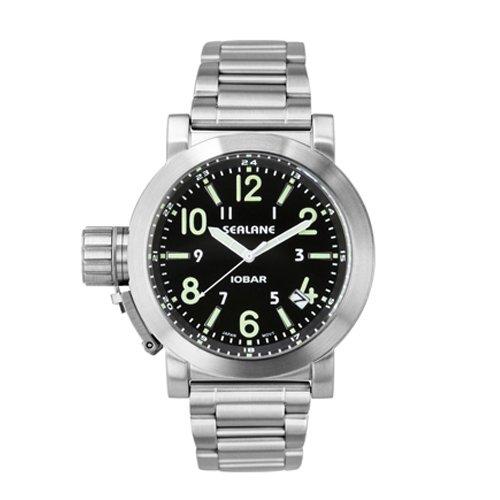 [シーレーン]SEALANE 腕時計 10BAR N夜光 SE43-MBK メンズ