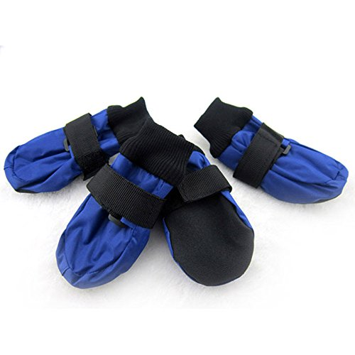 Hiware Waterproof Dog Boots, Paw Protector Dog Boots for Rain, Snow, Salt & Heat (Blue, Small)