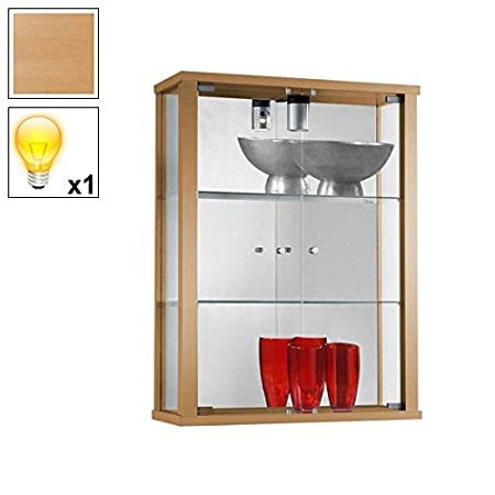 Premium Beech Wall Mounted Glass Display Cabinet with 1 Halogen Light (600mm Wide)