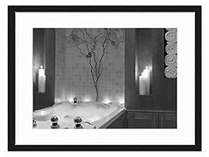 Bathroom art print wall solid wood framed for Bathroom paintings amazon