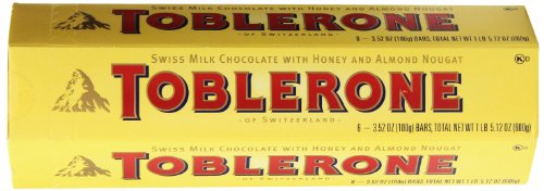 Toblerone Swiss Milk Chocolate With Honey And Almond Nougat 6-3.52 Oz(100g) Bars, Total Net 1lb 5.12 Oz(600g)
