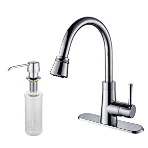 Kraus KPF-2220-KSD-30CH Single Lever Pull Out Kitchen Faucet and Soap Dispenser, Chrome