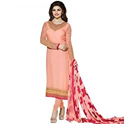 Regalia Ethnic New Collection Peach Embroidered Georgette Semistitched Dress Material With Matching Dupatta