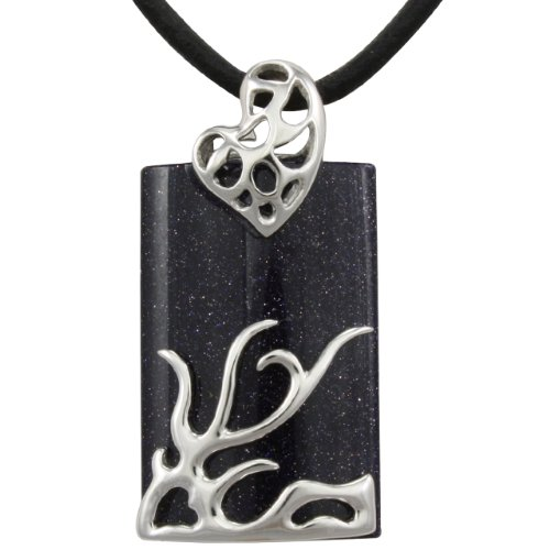 Dragon Midnight Blue Goldstone Leather Necklace with Platinum Overlay CAREFREE Sterling Silver (20″)