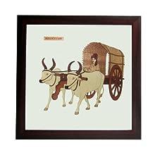 "The Bombay Store Wood & Glass Frame- Bullock Cart L 10"" H 9"""
