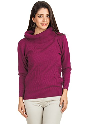 Zovi Women Acrylic Pink Zigzag Weave Sweater With Cowl Neck