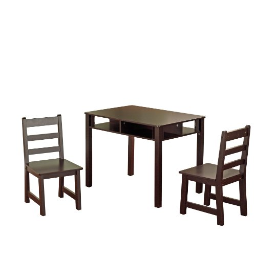 tms 3 piece kids table with chairs set espresso. Black Bedroom Furniture Sets. Home Design Ideas