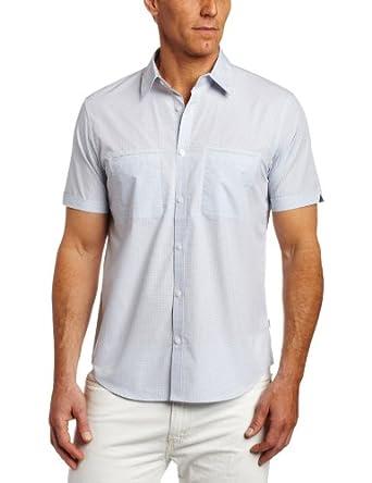 Calvin Klein Sportswear Men's Short Sleeve Mini Plaid Poplin Woven Shirt, Skyway, Small