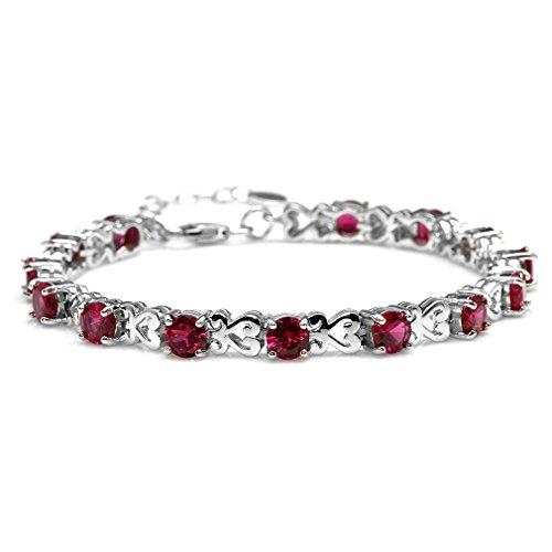 "Simulated Ruby 925 Sterling Silver Heart Victorian Style 7-8.5"" Adjustable Bracelet"